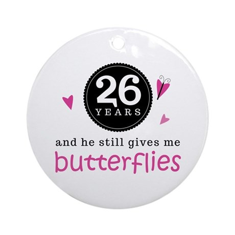 26th Anniversary Butterflies Ornament (Round)