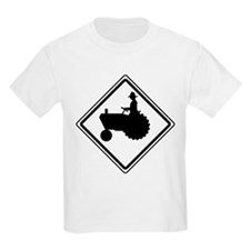 Tractor Crossing Ahead Kids T-Shirt
