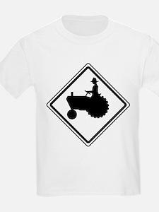 Tractor Crossing Ahead Kids T-Shirt
