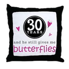 30th Anniversary Butterflies Throw Pillow