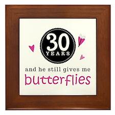 30th Anniversary Butterflies Framed Tile