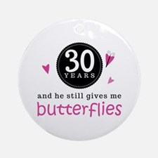 30th Anniversary Butterflies Ornament (Round)