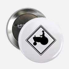 """Tractor Crossing Ahead 2.25"""" Button (10 pack)"""