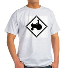 Tractor Crossing Ahead Ash Grey T-Shirt