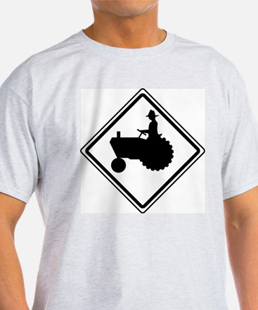 Tractor Crossing Ahead Ash Grey T-Shirt