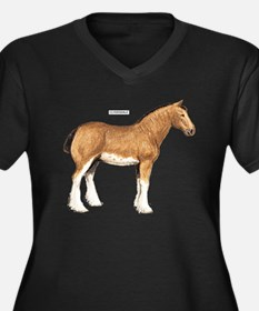 Clydesdale Horse Women's Plus Size V-Neck Dark T-S
