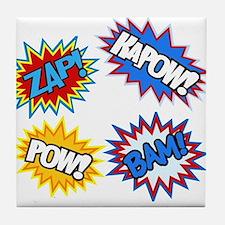 Hero Pow Bam Zap Bursts Tile Coaster