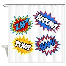 Hero Pow Bam Zap Bursts Shower Curtain