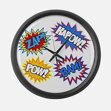 Hero Pow Bam Zap Bursts Large Wall Clock