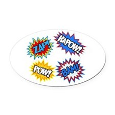 Hero Pow Bam Zap Bursts Oval Car Magnet