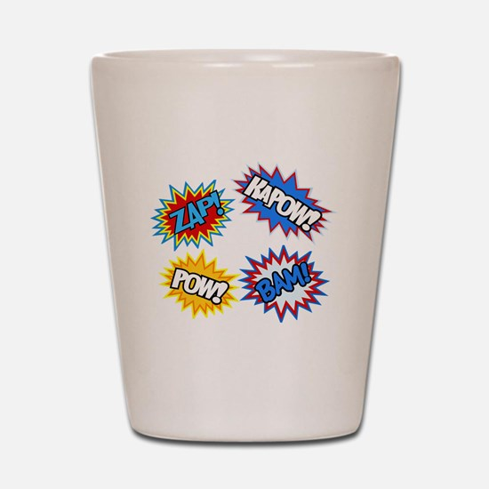 Hero Pow Bam Zap Bursts Shot Glass