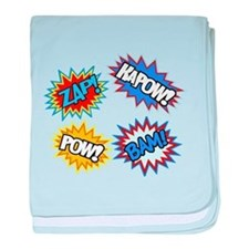 Hero Pow Bam Zap Bursts baby blanket