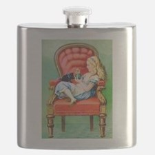 Alice & Dinah in the Big Red Chair Flask