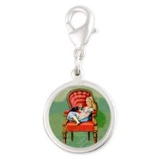 Alice & Dinah in the Big Red Chair Silver Round Ch