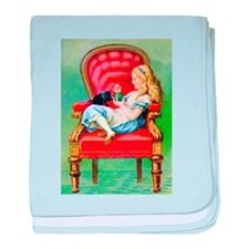 Alice & Dinah in the Big Red Chair baby blanket
