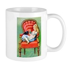 Alice & Dinah in the Big Red Chair Small Mugs