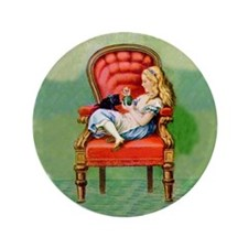 """Alice & Dinah in the Big Red Chair 3.5"""" Button"""