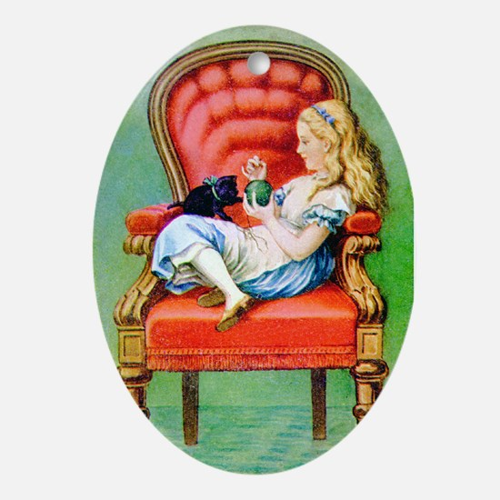 Alice & Dinah in the Big Red Chair Ornament (Oval)