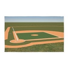 3'x5' Baseball Field Area Rug