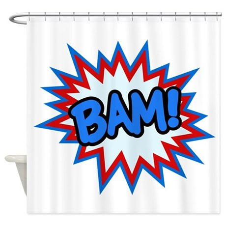 Hero bam bursts shower curtain by whimsicaltroll