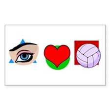 I LOVE VOLLEYBALL Rectangle Decal