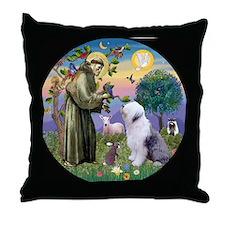 Cute Old english sheepdog tile box Throw Pillow
