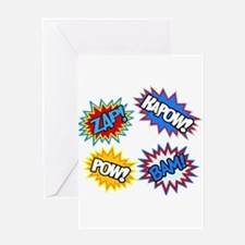 Hero Pow Bam Zap Bursts Greeting Card