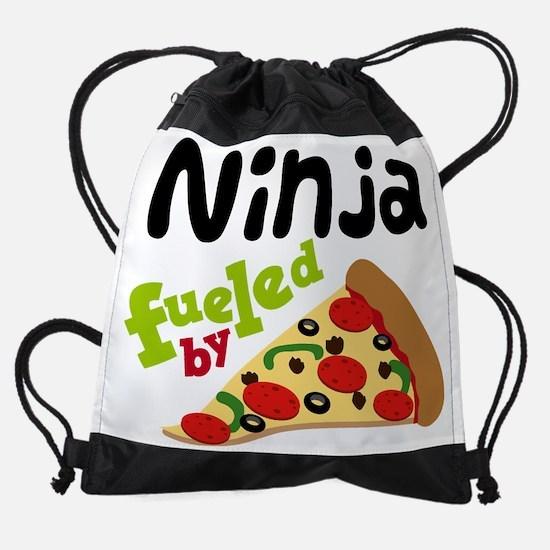 Ninja Fueled By Pizza Drawstring Bag