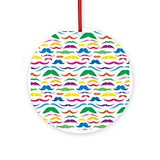 Mustache Color Pattern Ornament (Round)