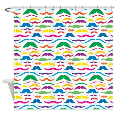 Mustach Color Pattern Shower Curtain