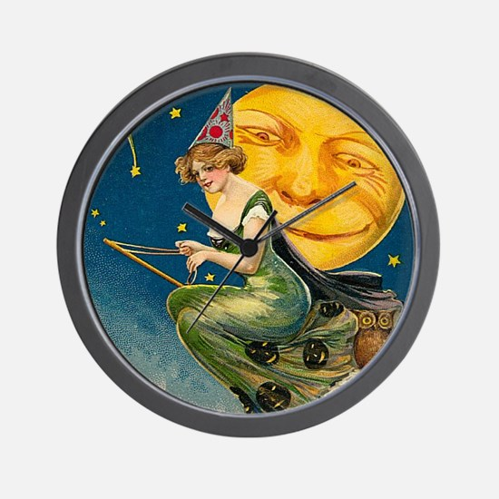 Cute Vintage witch Wall Clock