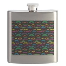 Mustach Color Pattern Black Flask