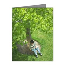 Overhead view of boy reading Note Cards (Pk of 10)
