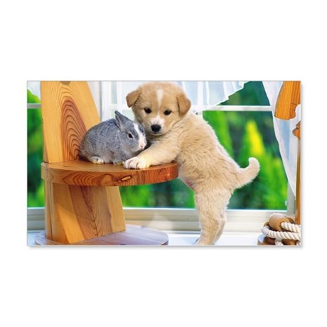Puppy and Rabbit 20x12 Wall Decal
