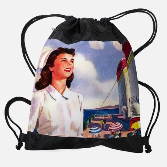 cherry cruise. cal 05.jpg Drawstring Bag