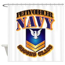 NAVY - PO2 - Gold Shower Curtain