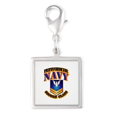 NAVY - PO2 - Gold Silver Square Charm