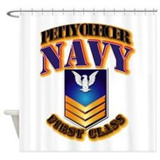 NAVY - PO1 - Gold Shower Curtain