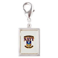 NAVY - PO1 - Gold Silver Portrait Charm