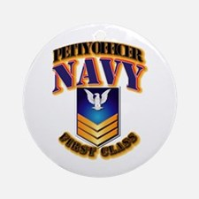 NAVY - PO1 - Gold Ornament (Round)