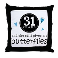 31 Year Anniversary Butterfly Throw Pillow