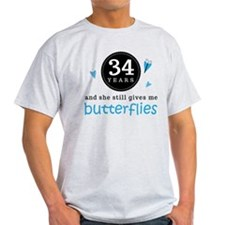 34 Year Anniversary Butterfly T-Shirt