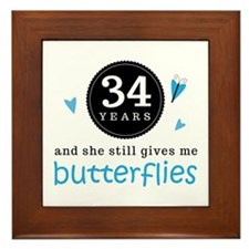 34 Year Anniversary Butterfly Framed Tile