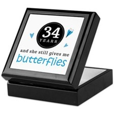 34 Year Anniversary Butterfly Keepsake Box