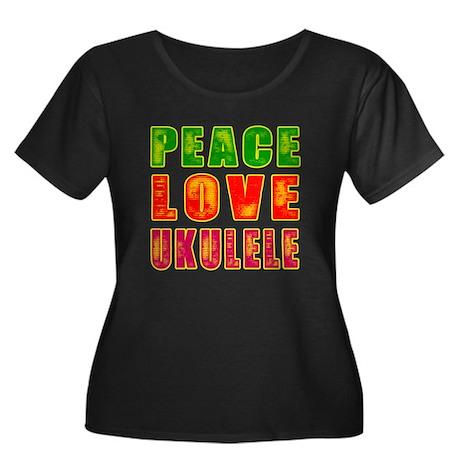 Peace Love Ukulele Women's Plus Size Scoop Neck Da