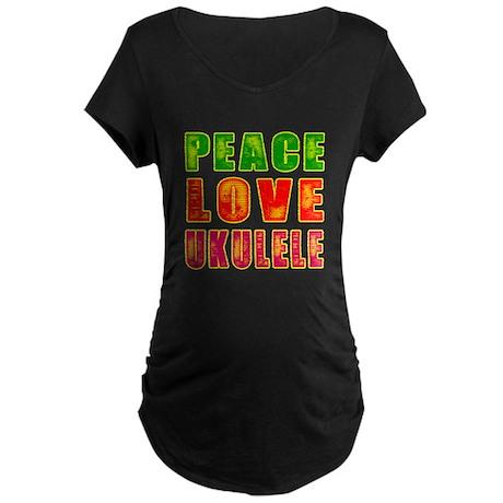 Peace Love Ukulele Maternity Dark T-Shirt