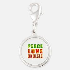 Peace Love Ukulele Silver Round Charm