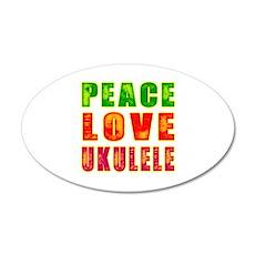 Peace Love Ukulele 35x21 Oval Wall Decal