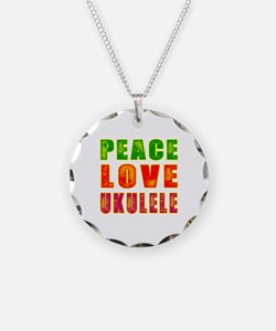 Peace Love Ukulele Necklace Circle Charm