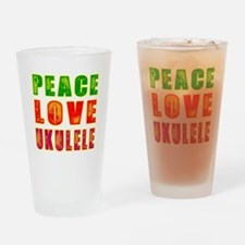 Peace Love Ukulele Drinking Glass